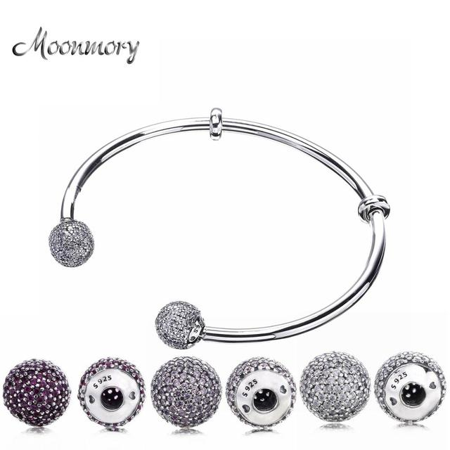 Moonmory Moments Silver Open Bangle with Pave Caps S925 Sterling Silver bead Bracelet with Red Zircon Diy Charm Bangle Jewelry