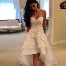 Elegant White Lace Appliques Hi Low Wedding Dresses Sweetheart Lace Up Back Front Short Long Back Wedding Gowns vestido de noiva lace up front sweetheart neck plaid bandeau top
