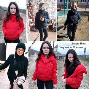 Image 5 - 女性ショートジャケットパーカー Mujer 2019 冬のジャケットコートファッション秋固体暖かいカジュアル詰めダウンパーカー女性のコートの女性