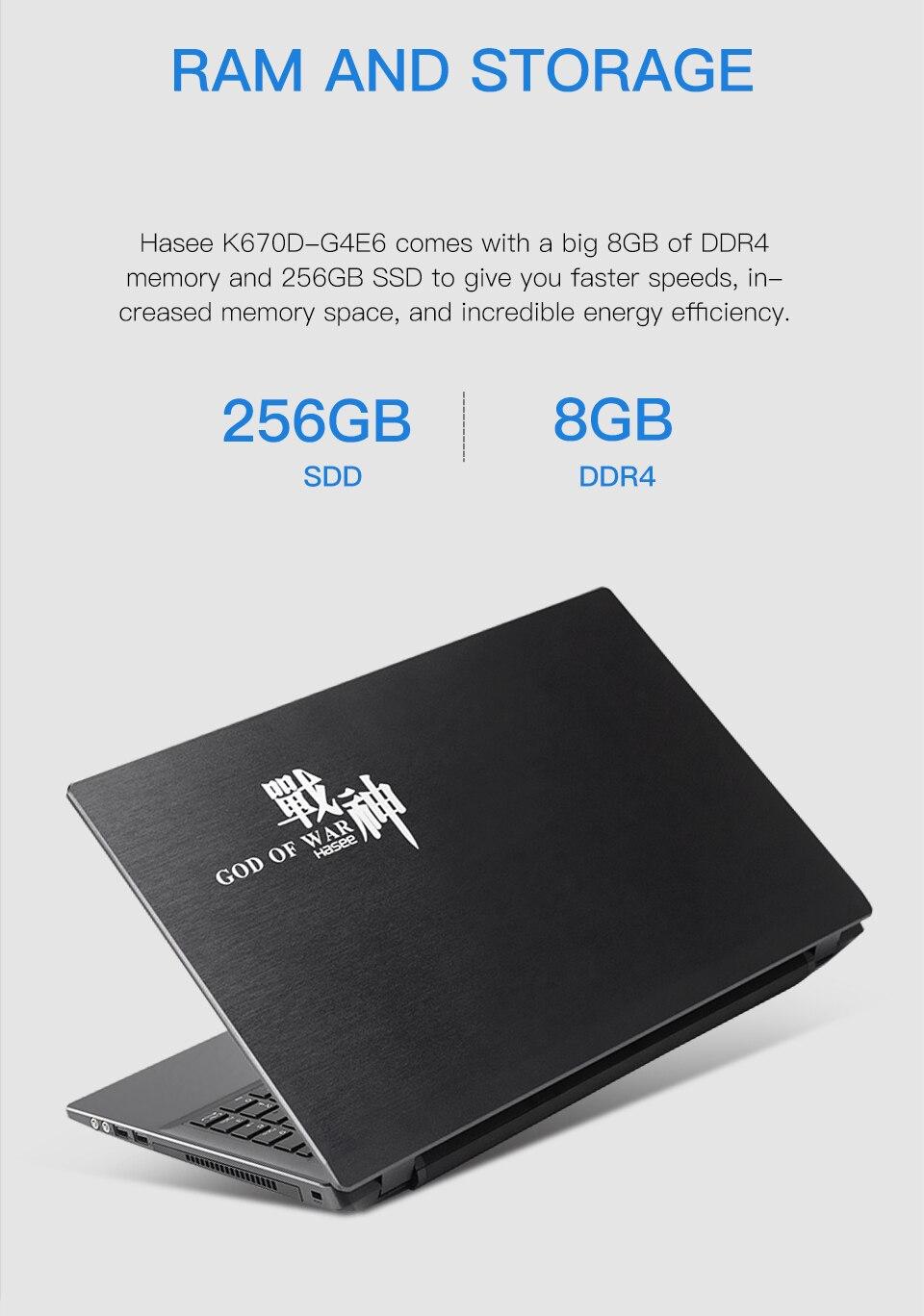 Hf3f6409e58074173a4770f4f50b41e26f Hasee K670D-G4E6 Laptop for Gaming (Intel 9Gen G5420+GTX1050 4G/8G RAM/256G SSD/15.6'' IPS)Hasee desktop-grade notebook