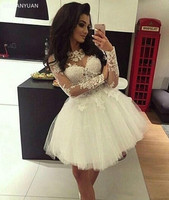 White 2020 Homecoming Dresses Ball Gown Long Sleeves Tulle Appliques Lace Short Mini Elegant Cocktail Dresses