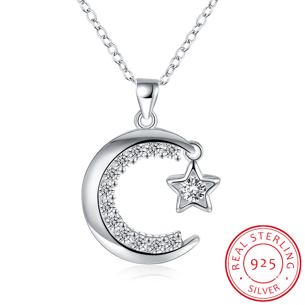 Dazzling Micro CZ Moon Star Pendant Necklace For Women 925 Sterling Silver Necklace collares S-N239
