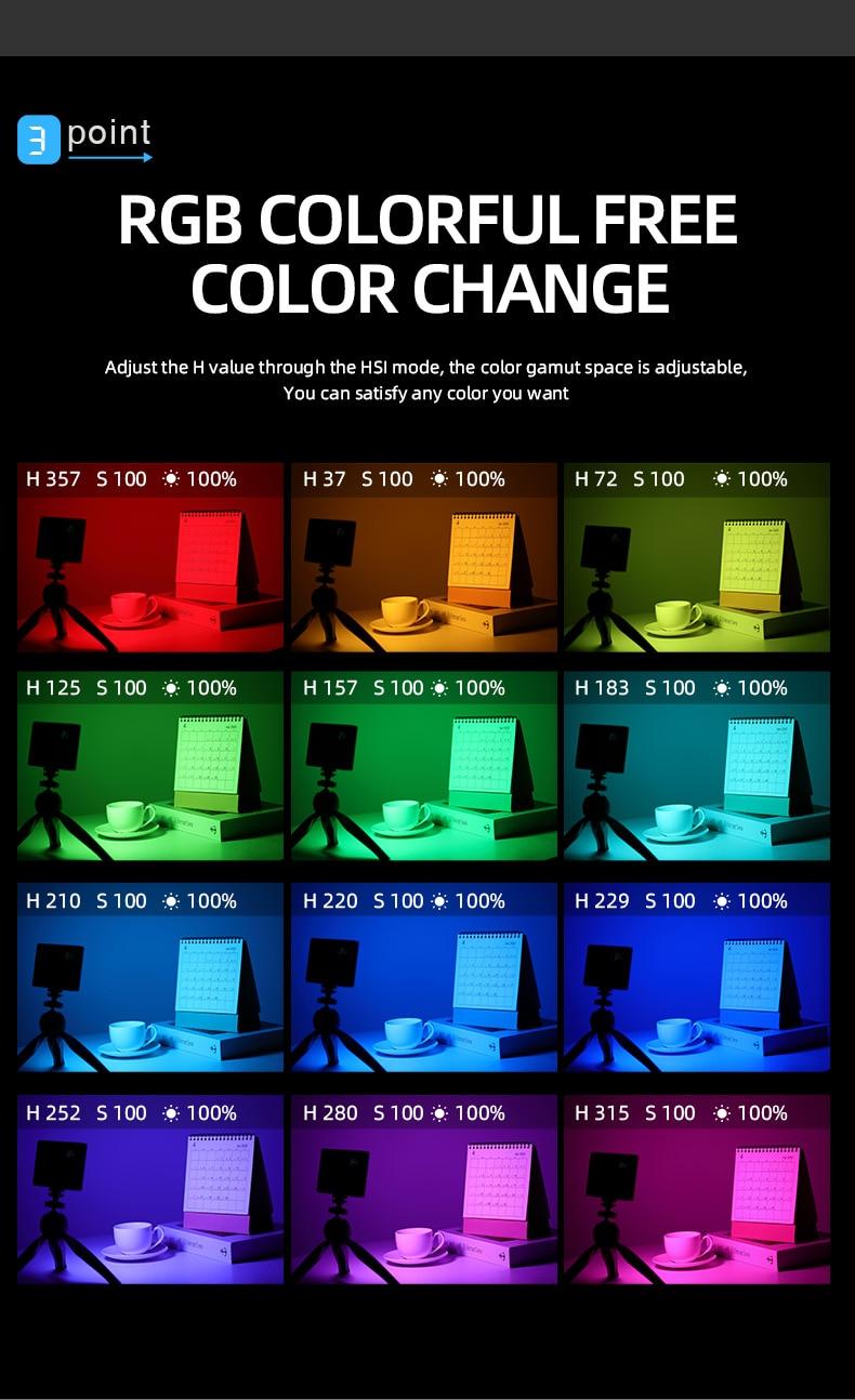 Hf3f6667ef815476888843661bd80dafdg soonpho RGB LED Camera Light Full Color Output Video Light Kit Dimmable 2500K-8500K Bi-Color Panel Light CRI 95+