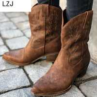 LZJ 2019 New Classic Embroidered Western Cowboy Boots For Women Leather Cowgirl Boots Low Heels Shoes Knee High Woman Boots