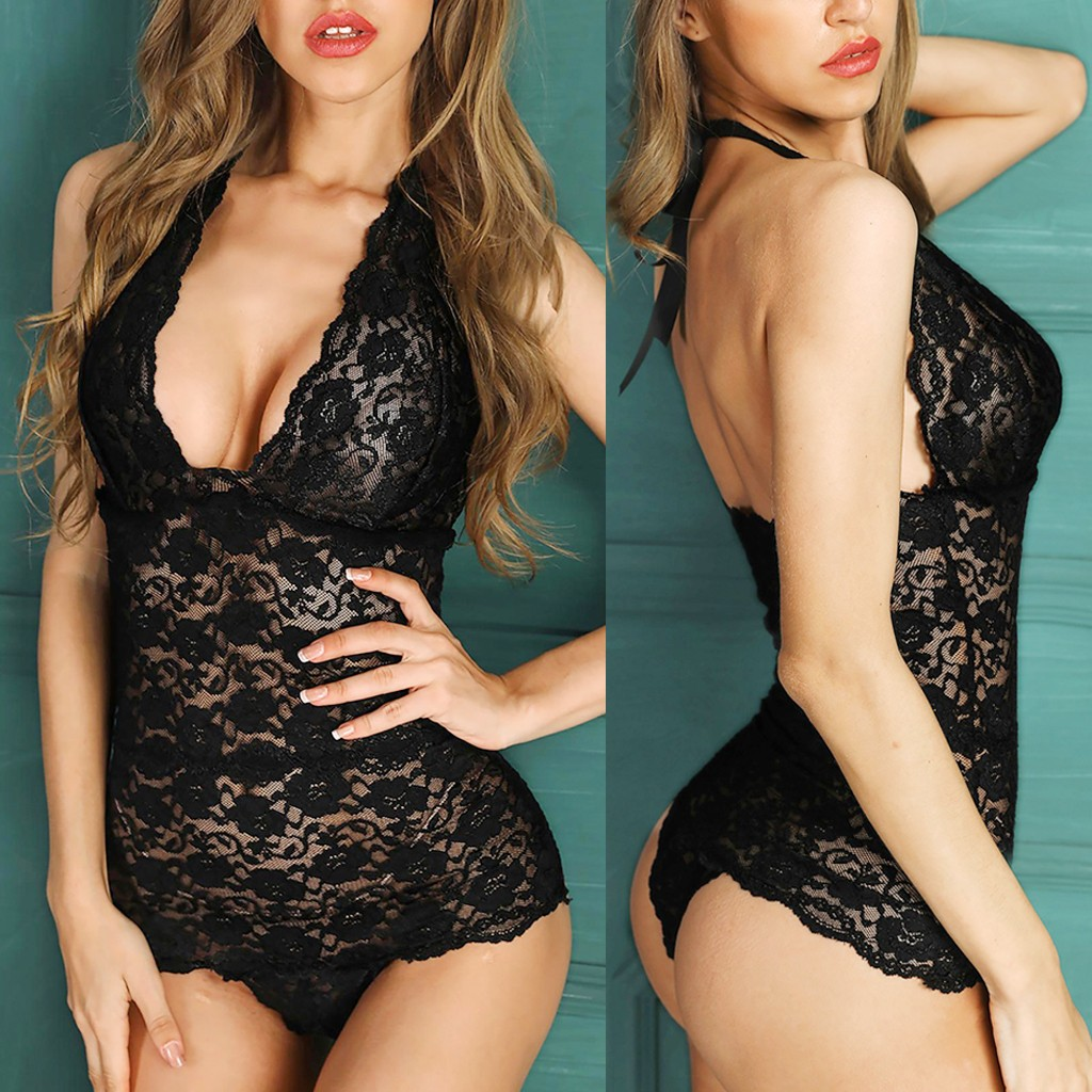 Women Lace Sexy Lingerie Transparent Porno Bodysuit Babydoll Erotic Costumes V-Neck Sexy Underwear Teddy Hot Lenceria Sleepwear