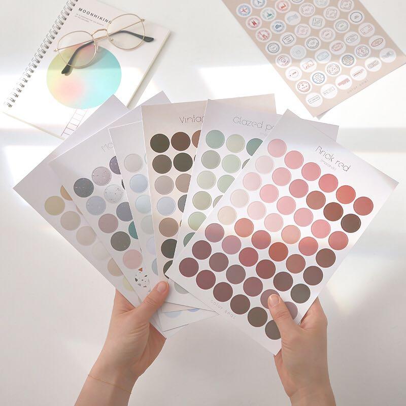 2pcs/set Morandi Round Sticker Multifunctional Basic Mark Stickers DIY Diary Decor Bullet Journal Sticker School Supplies