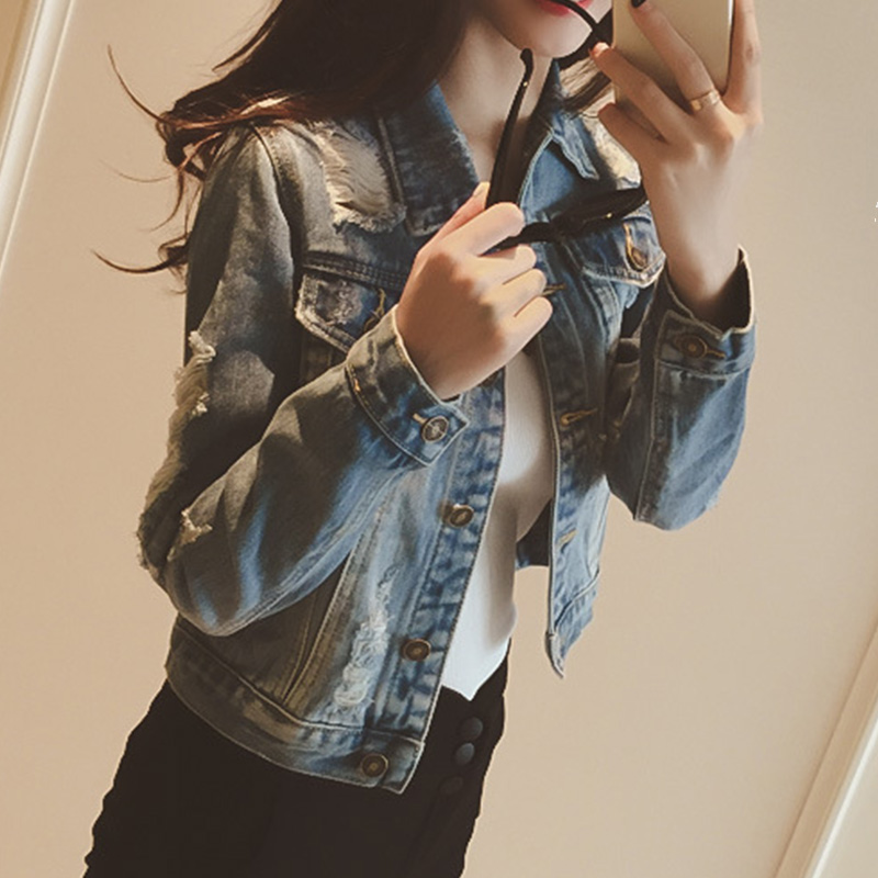 Turn-down Collar Jeans Jacket Sweet Women Light Blue Bomber Short Denim Jackets 2020 Spring Fashion Long Sleeve Casual Coat