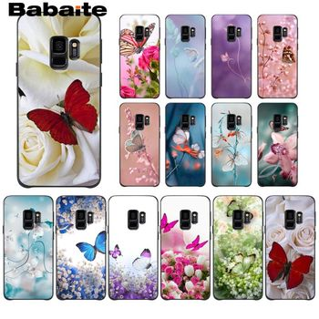 Red Butterfly on White Roses Flower Back Phone Case For Samsung Galaxy S6 S6edge Note3 4 5 note 7 8 note 9 10 note 10 Pro Cases image