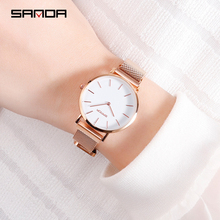 SANDA 7mm Super Slim Rose gold Stainless Steel Watches Women Top Brand Luxury Casual Clock Ladies Wrist Watch Relogio Feminino цена и фото