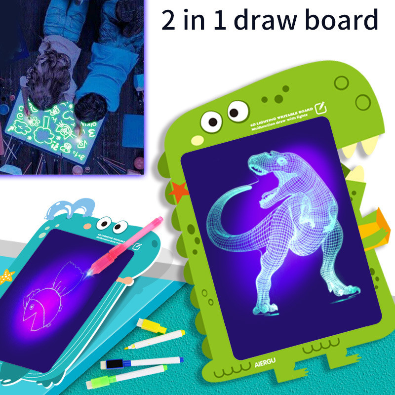 1PC 2 In 1 LED Luminous Drawing Board Educational Toy Magic Draw With Light-Fun Fluorescent Pen Graffiti Doodle Drawing Tablet
