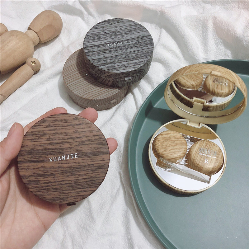 Imitation Wood Grain Round Contact Lens Case With Mirror Storage Box Lens Container Gift Cute Cartoon Eye Contacts Case
