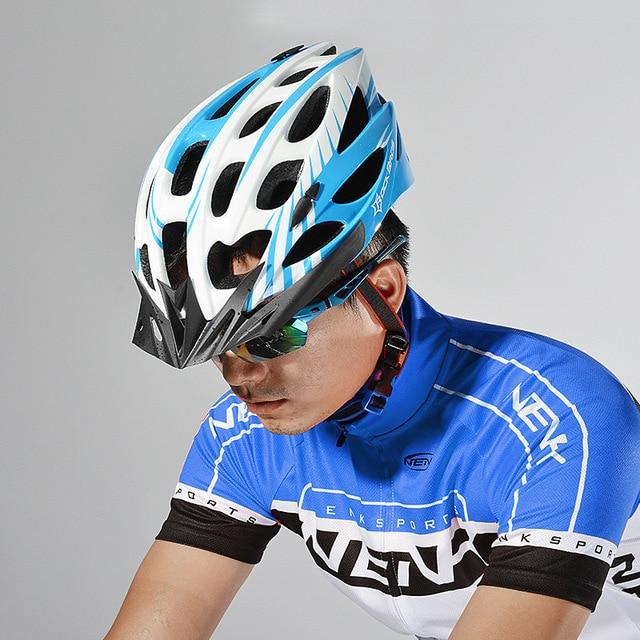 Rockbros pro capacete de ciclismo com viseira ultraleve eps + pc integralmente moldado mtb road bike capacete 28 aberturas capacete de bicicleta 57-62cm 6