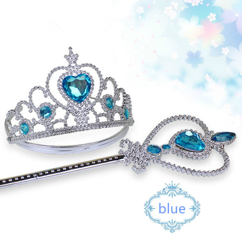 Girls 2 Piece/Set Princess Tiara Accessories Children Diamond Crowns + Magic Wands Girl Christmas Party Gift Festival