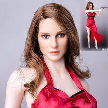 цена 1/6 Scale Female Beauty Head Play Girl Head Sculpt Long Curly brown Hair Head KT008 For 12