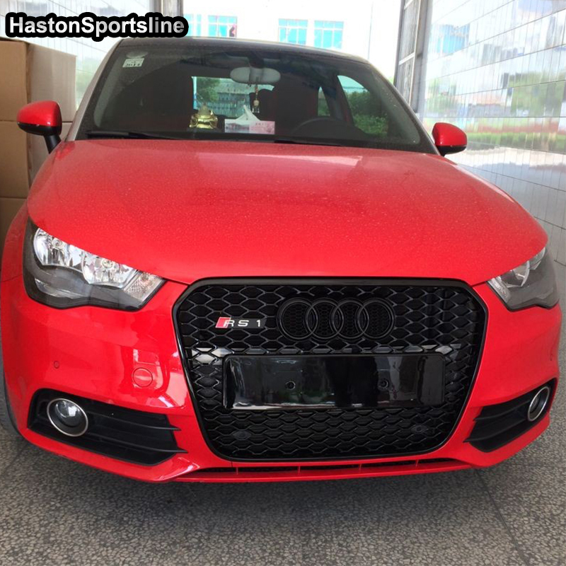 A1 Modified RS1 Style Front Hood Center Grille <font><b>Grill</b></font> for <font><b>Audi</b></font> A1 RS1 <font><b>S1</b></font> 2011 2012 2013 2014 With Emblem Logo image