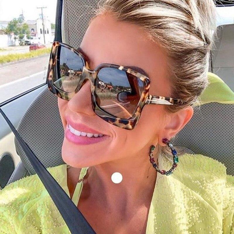 2020 Fashion Oversized Women Sunglasses Brand Designer Plastic Female Big Frame Gradient Sun Glasses UV400 Gafas De Sol Mujer