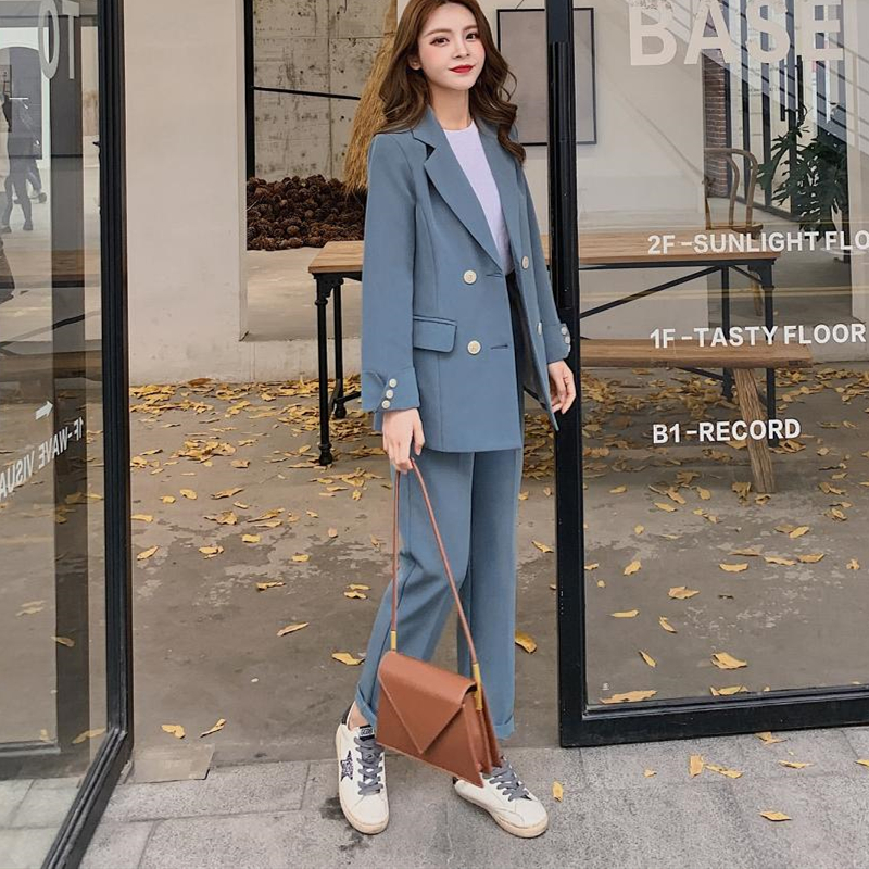Casual Solid Women Pant Suits Notched Collar Blazer Jacket & Pencil Pant  Female Suit Spring Autumn High Quality