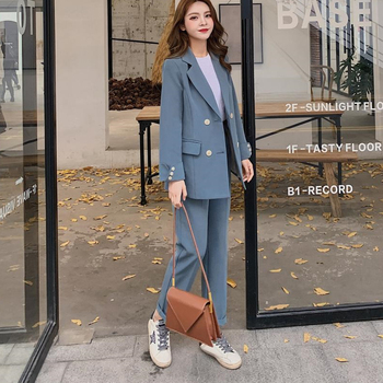 Casual Solid Women Pant Suits Notched Collar Blazer Jacket & Pencil  Female Suit Spring Autumn high quality