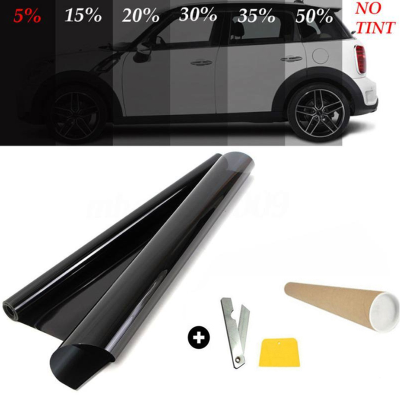 Tinte de ventanilla para coche VLT negro, película teñida para un coche, rollo de pegatinas de vinilo de cristal, resistente a arañazos, protector Solar para casa de Mascota