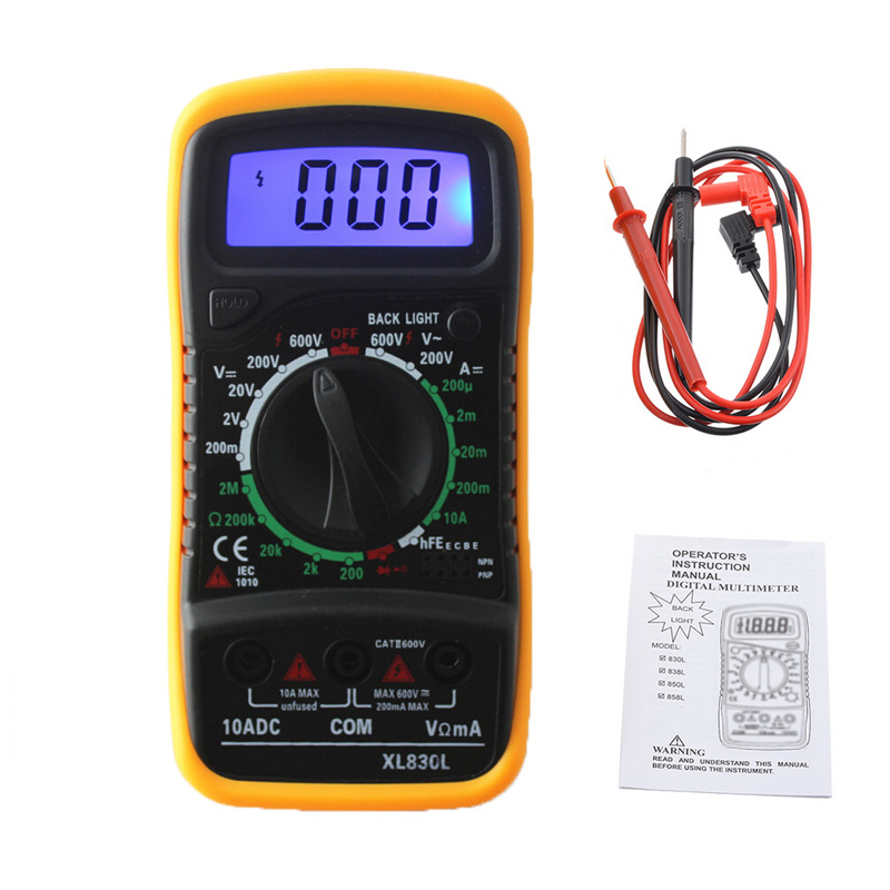 XL830L Multimeter Portable LCD Digital Multimeter Backlight AC/DC Ammeter Voltmeter Ohm Tester Meter Handheld Multimeter Tester