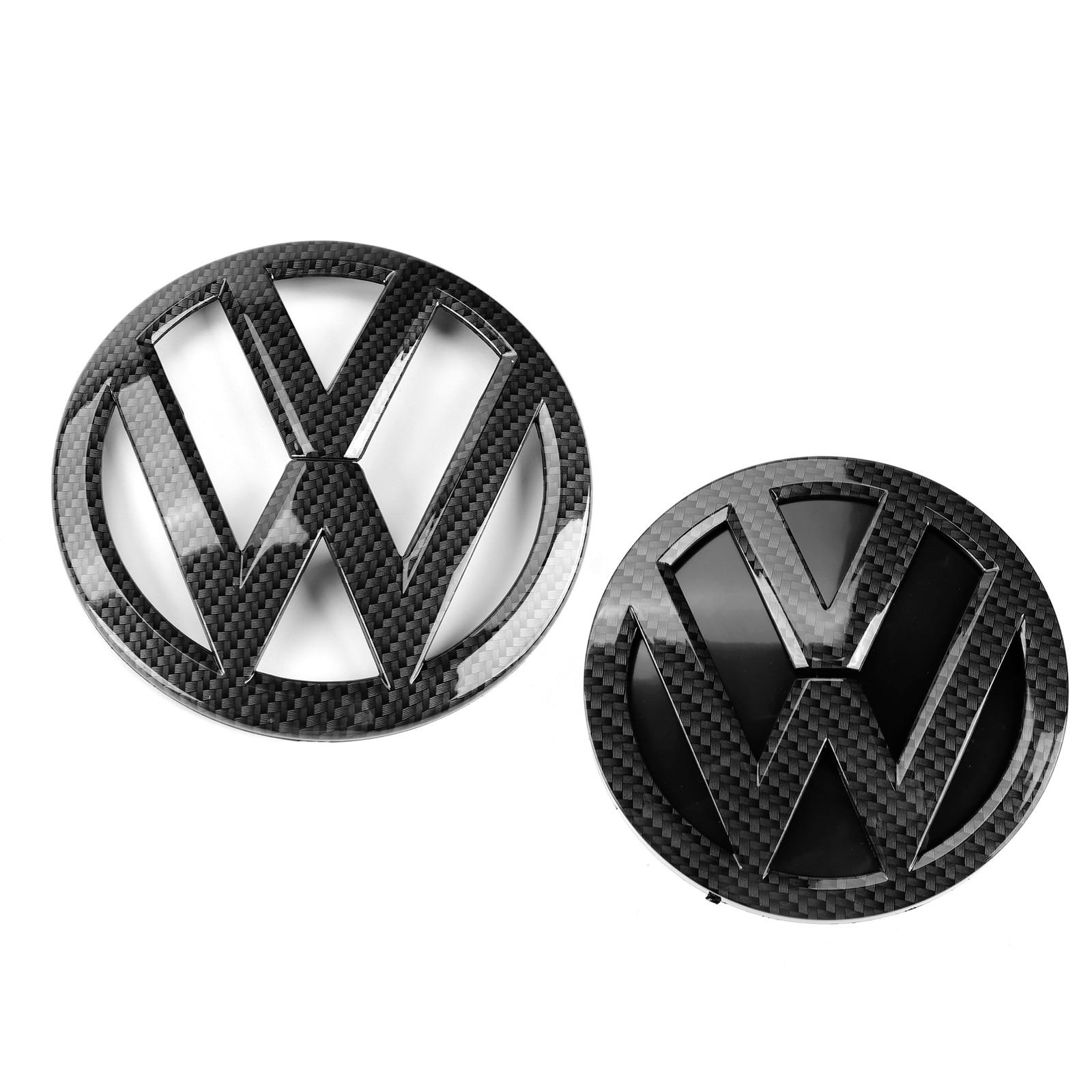 Черный 136 мм передний значок на гриль из углеродного волокна + 112 мм Задняя Крышка багажника эмблема логотип для VW Volkswagen Golf MK7