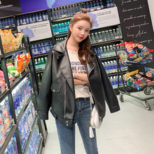 Spring And Autumn New Style Korean-style Short Black Long Sleeves PU Leather Women's Suit Collar Locomotive Short Coat C238