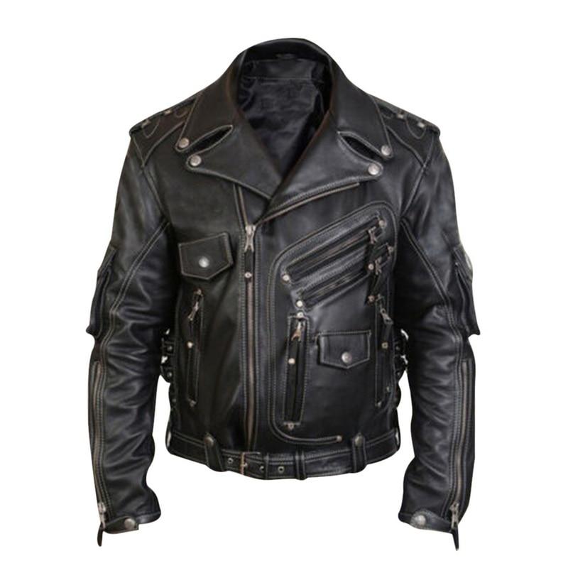 Jacket Men Fashion Slim Fit Profession Motorcycle Biker Jacket Men's Basic Leather Motorcycle Jacket With Pockets