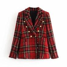 Tweed women red plaid blazers 2019 winter fashion women vintage jackets female p