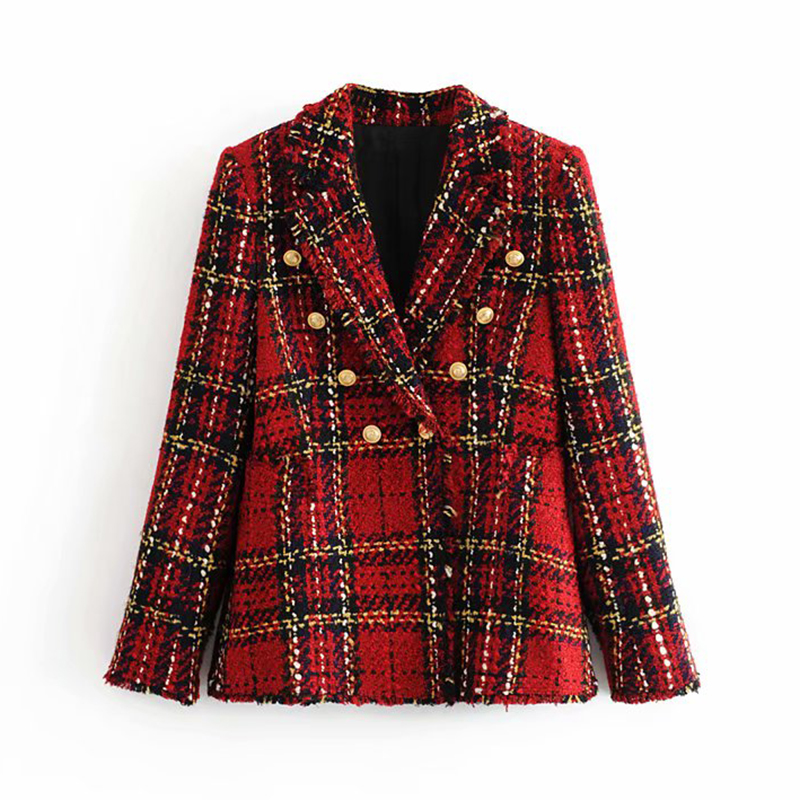 Tweed Women Red Plaid Blazers 2019 Winter Fashion Women Vintage Jackets Female Patchwork Blazer Coats Girls Chic Outfit Clothes