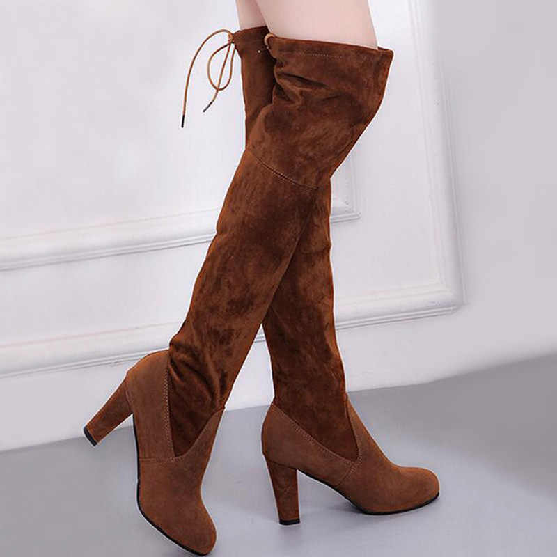Vrouwen Laarzen Over De Knie Laarzen Vrouwelijke Suède Dij Hoge Laarzen Dames Bota Vrouwen Winter Schoenen Hoge Hak lange Laarzen Botas Mujer