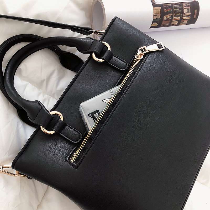 European and American Fashion Women 39 s Portable hair High grade texture skin solid Color single shoulder large Business Girl Tide in Shoulder Bags from Luggage amp Bags