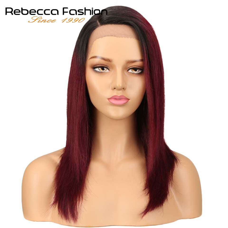 Rebecca Right Side Part Ombre Lace Front Human Hair Wigs For Black Women Peruvian Remy Straight Hair Wig 14 Inch Free Shipping