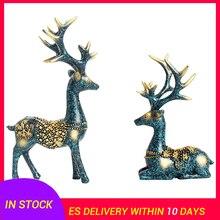2pcs Ornaments Couple Deer Shape Resin Artistic Beautiful Miniature Craft Figurine Decoration