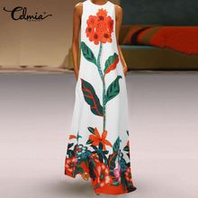 Celmia 2021 Bohemian Sleeveless Maxi Dress Women Floral Printed Summer Sundress Casual Loose Holiday Beach Vestidos Plus Size
