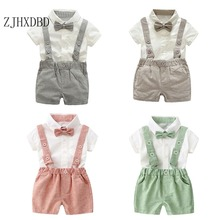 Outfit Baby Formal-Costume Children Summer Solid with Adjustable Strap-Shorts Pants Two-Piece