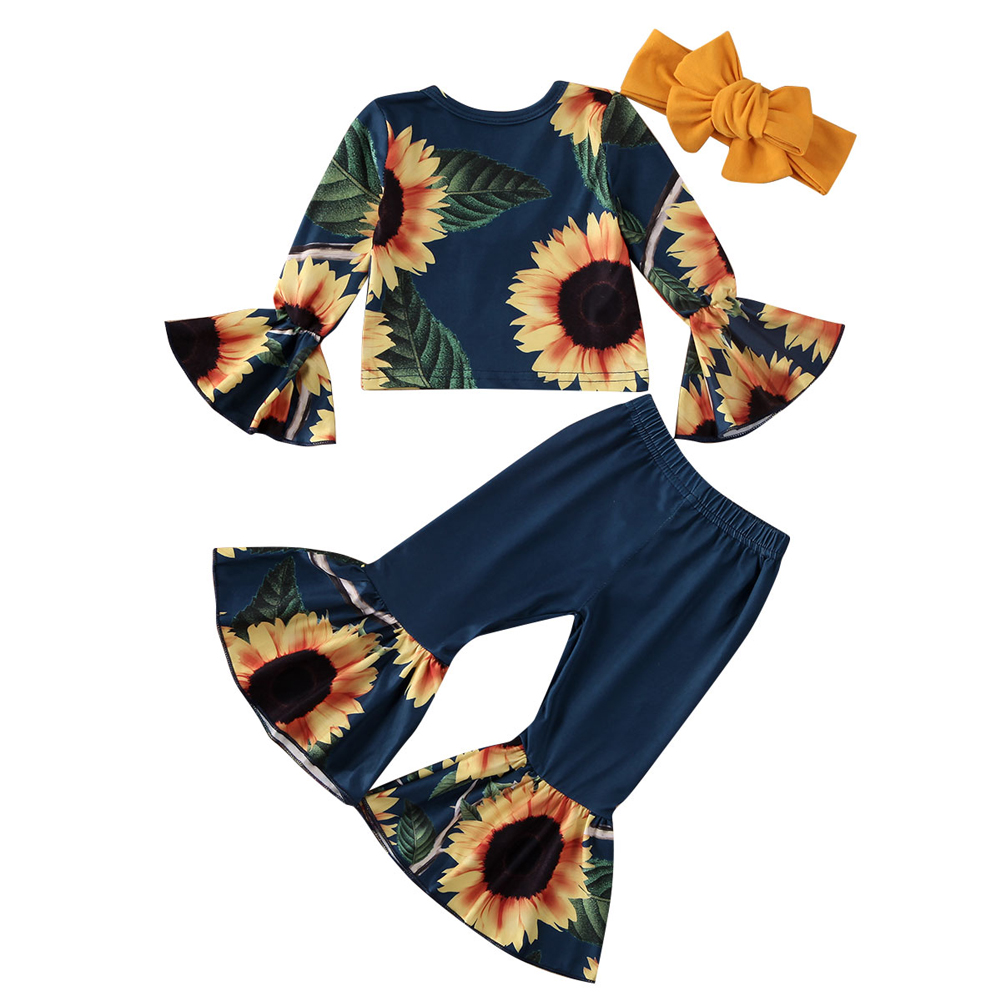 Toddler Kids Baby Girls Print Short Sleeve Tops Flare Pants Hairband Outfits UK