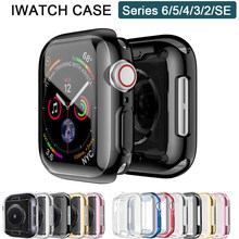 Funda para Apple Watch, Protector de pantalla de 44mm, 40mm, 42mm/38mm, TPU, accesorios para Apple watch series 6 5 4 3 SE