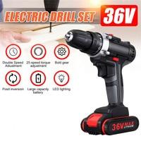 36 v 25-speed casa chave de fenda elétrica impacto sem fio escova broca li-ion bateria recarregável sem fio mão broca ferramenta elétrica