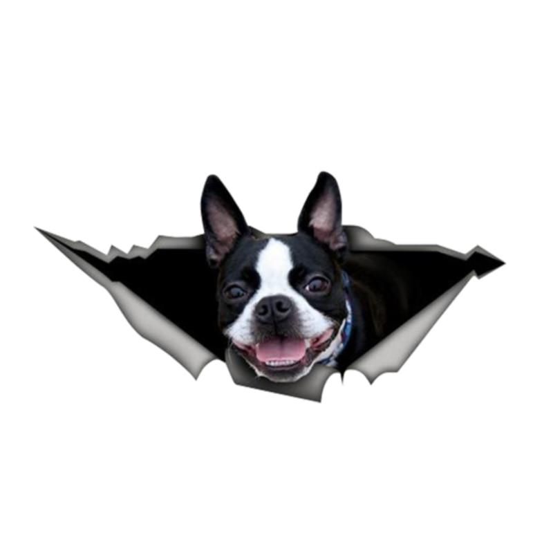 Personality Car Sticker Accessories 3D Boston Terrier Animal Auto Decorative Decal Car Window Waterproof PVC 13cm X 6cm