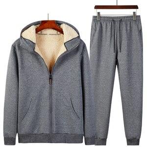 Image 4 - 2019 Winter Thick Faux Shearling Warm Tracksuit Men Hooded Sweatsuit 2 Piece Jacket+Pants Men Set Sportwear Track Suit 4XL 5XL