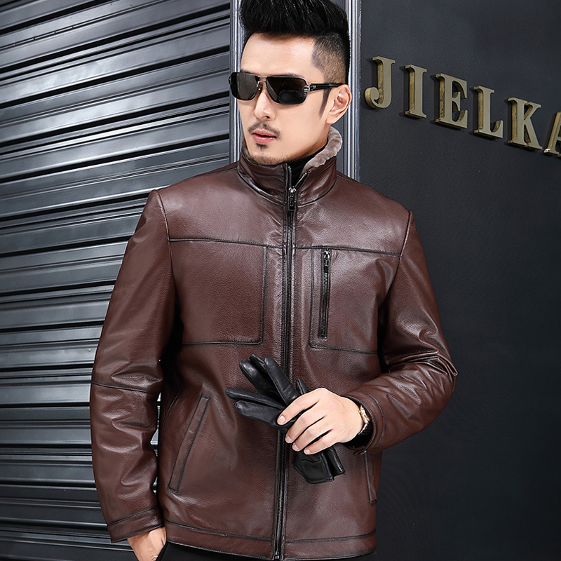 Winter Warm Slim Jackets Genuine Leather Jacket Men 2020 Fashion Sheepskin Coat Wool Coats Jaqueta De Couro ZL384