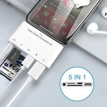 Adaptador de Audio y ratón para Apple iPad lector de tarjetas, USB, SD, tarjeta TF de cámara, Lightning a 3,5mm, adaptador OTG 5 en 1, compatible con teclado de ratón y disco U