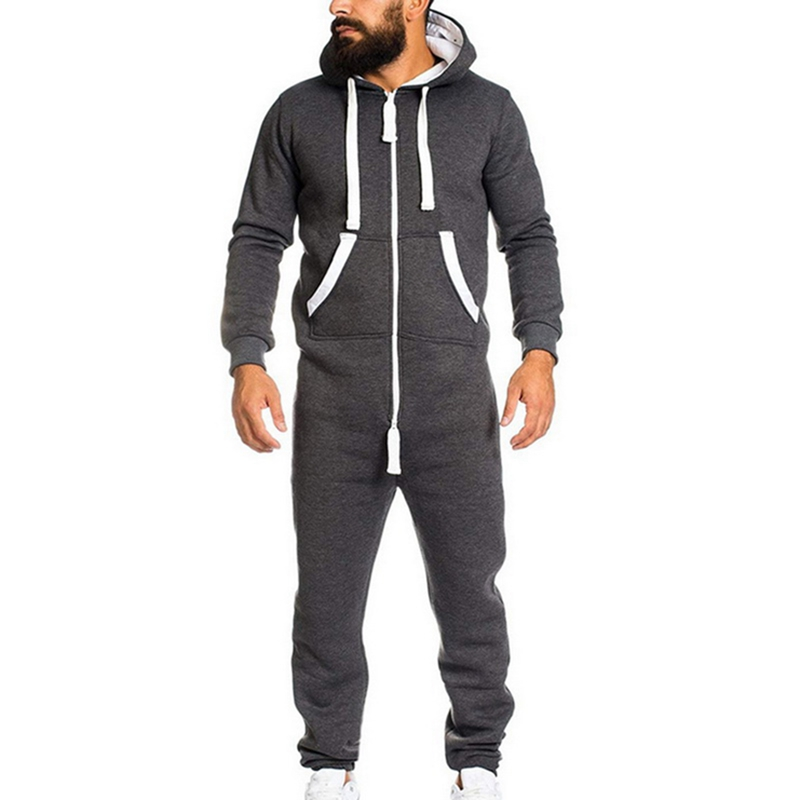 PUIMENTIUA 2019 Casual Tracksuit Jumpsuit Male Overalls Long Sleeve Sweatshirt Hoodies Polyester Pants Romper For Male Overalls