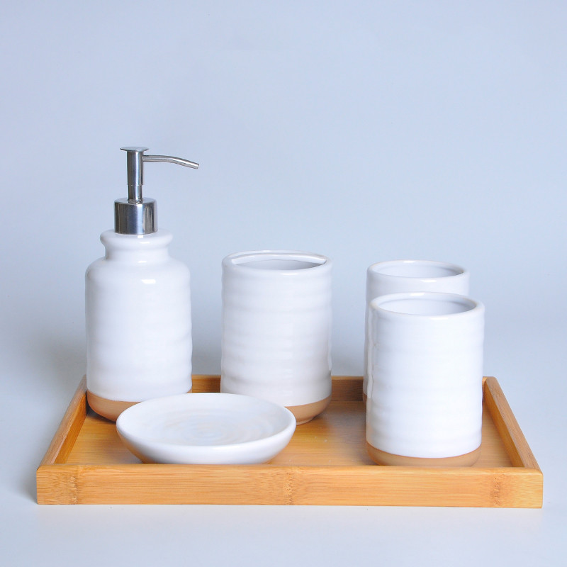 Pure white ceramic Bathroom accessories set Creativity Toothbrush holder Lotion bottle Bamboo tray bathroom wash Suit supplies image