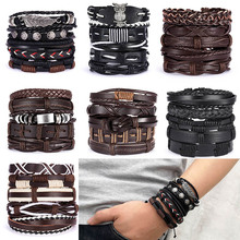 SEDmart Fashion 5pcs Woven Leather Layered Vintage Owl Bracelet for Women Men Bohemian Handmade Adjustable Fringe Couple Jewelry vintage layered owl beads bracelet for women