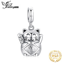 JewelryPalace Lucky Cat 925 Sterling Silver Beads Charms Silver 925 Original For Bracelet Silver 925 original For Jewelry Making(China)