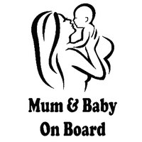 Mum Baby on Board Car Vehicle Body Window Reflective Decals Sticker Decoration Automobiles Decal Car styling 4