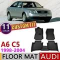 Изготовленный На Заказ Кожаный Автомобильный Коврик для Audi A6 C5 4B 1998 ~ 2004 5 мест анти-грязный коврик для ног Аксессуары для ковров 1999 2000 2001 2002 ...