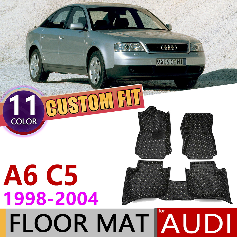 Custom Leather Car Floor Mat for <font><b>Audi</b></font> <font><b>A6</b></font> <font><b>C5</b></font> 4B 1998~2004 5 Seats Anti-dirty Foot Pad Carpet Accessories <font><b>1999</b></font> 2000 2001 2002 2003 image