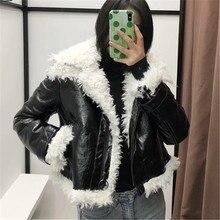 PU Leather Faux Winter 2019 Lamb Women Black Biker Punk Jacket Casual Warm Streetwear Outwear